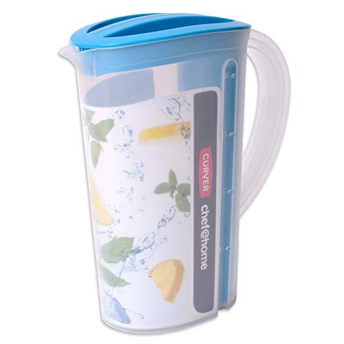 teprovo Karaffe Kanne Wasserkanne Wasserkaraffe Krug Getränkespender Fruchteinsatz Siebeinsatz 2 L Blau
