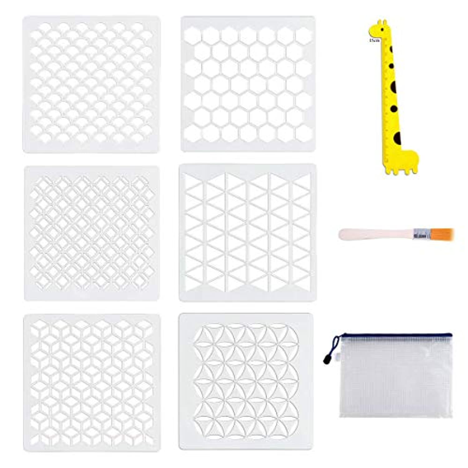 6 Set Geometric Stencils, Art Painting Templates for Scrapbooking Drawing Tracing DIY Furniture Wall Floor Decor with Art Brush/Storage Bag/Ruler, 7 x 7 Inch