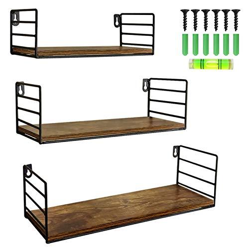UMI. by Amazon Estantes flotantes rústicos con Montaje en la Pared para Salas de Estar, cocinas u oficinas, Set de 3