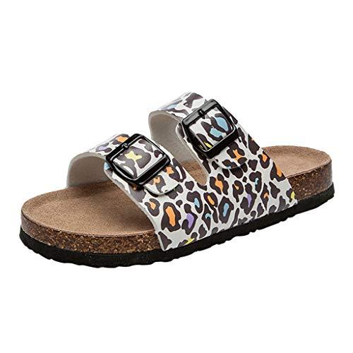 Frauen Leopard Kork Hausschuhe Doppel Schnalle Strand Schuhe Anti-Slip Toe Post Sandalen Flip Flop Hausschuhe