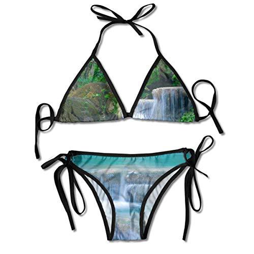 El Agua de la Cascada del Bosque imprimió los Sistemas del Bikini para Mujer, Negro del Traje de baño de la Playa del Traje de baño del triángulo