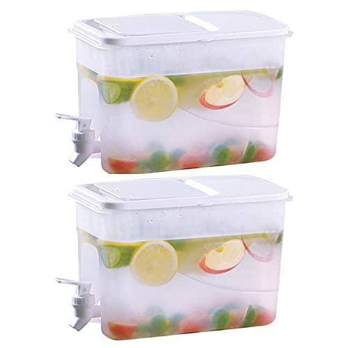 Hervidor frío con Grifo Desmontable, dispensador de Bebidas portátil de Gran Capacidad Cubo de Limonada Tetera de Frutas para Nevera o Uso al Aire Libre (Color : 2Pcs)