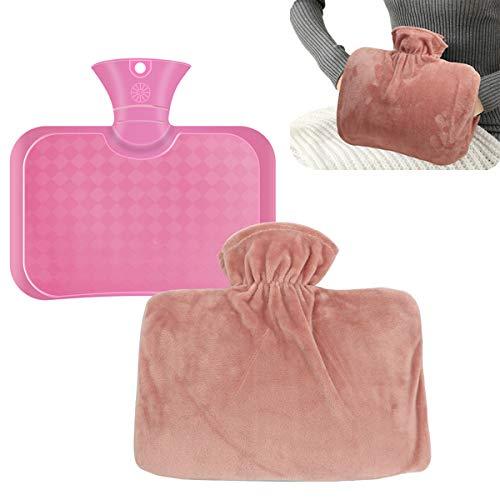 HIDARLING Botella de agua caliente con cubierta de forro polar suave, portátil, reutilizable, para aliviar calambres menstruales, dolores musculares y dolores de espalda (rosa)