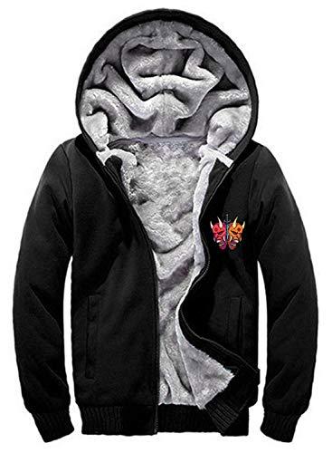 Men's Full-Zip Fleece Hooded Sweatshirt Heavyweight Warm Jacket with Kangaroo Pocket (C-Black, X-Large)