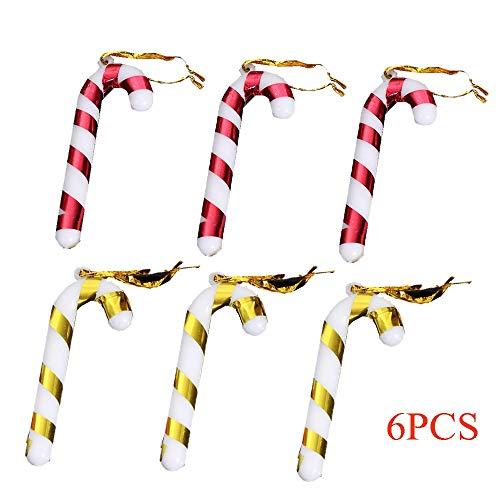 kungfu Mall 6PCS Christmas Candy Cane Plastic Hanging Ornament Gift Supplies Decoraciones para árboles de Navidad...