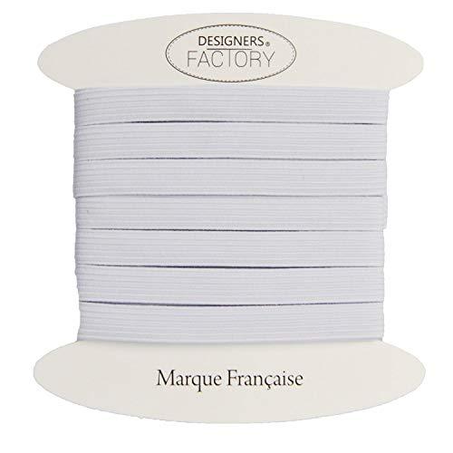 designers-factory Ruban élastique Blanc, Largeur 8mm, de Belle qualité (par 10 mètres)