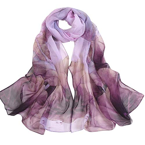 Sheer Chiffon Scarves Lavender and Brown