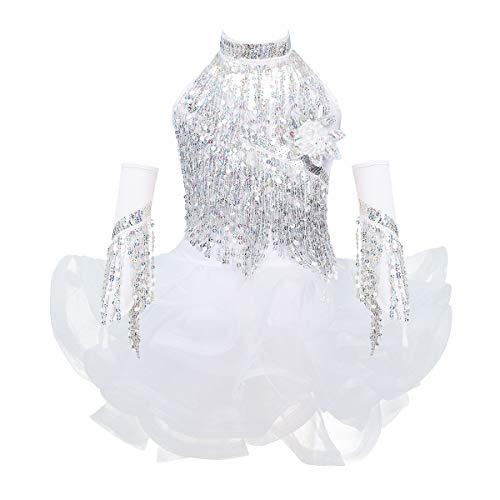 iiniim Kinder Latein Tanzkleid Pailletten Tutu Kleid+Shorts+Halsband+Armstulpen Mädchen Ballerina Salsa Tango Wettbewerb Tanzkleidung Set Weiß 140-152/10-12 Jahre