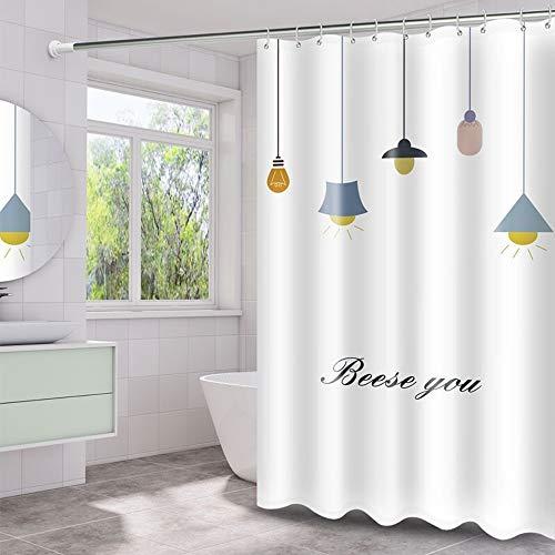 Peng Sounder-hm Duschvorhänge Mold Proof Duschvorhang einfache Lampe entworfene wasserdicht Badezimmer-Vorhang Waschbar Bad Vorhang-Entwurf mit Haken für Badezimmer (Farbe : Weiß, Größe : 180x200cm)
