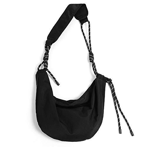 Bolso de hombro informal, bolso diagonal de mano de tela de nailon para hombres y mujeres, mochila estilo Yamamoto, deportes ligeros al aire libre, viajes, senderismo, negro
