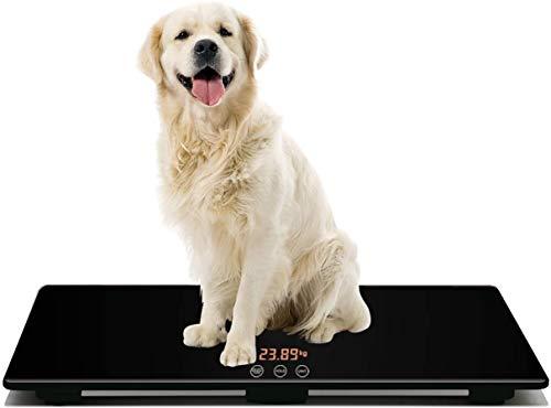Báscula Digital para Mascota, Medición de Peso de Perro y Gato con 3 Modos de Pesaje (kg, oz, lb) Capacidad de 220 Libras con Precisión de 10g, Negro 25.6 17.7 pulgadas