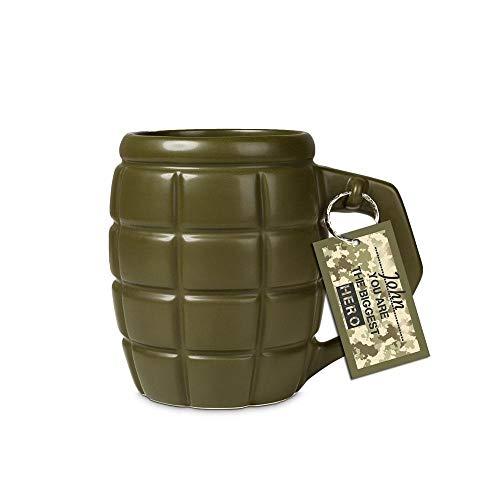 XXL Handgranate Kaffeebecher mit ca. 700ml Fassungsvermögen in olivgrün - XXL Granate Tasse Kaffeetasse