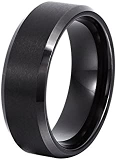 Yellow Chimes Band Stainless Steel Collection Ring for Men (Black)(YCSSRG-010BND-BK)