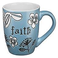 Faith Mug With Engraved Florals - Blue