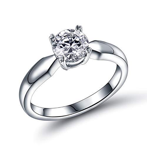 Socoz Anillo de compromiso de oro blanco de 18 quilates con diamante individual de 4 puntas para mujer de oro blanco Oro Bianco