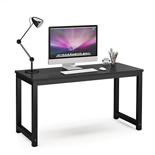 Tribesigns Computer Desk, 55 inch Large Office Desk Computer Table Study Writing Desk for Home Office, Black + Black Leg