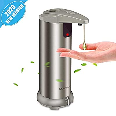 Automatic Soap Dispenser - Touchless Soap Dispenser with Waterproof Base, Infrared Motion Sensor Stainless Steel Dish Liquid Free Auto Hand Soap Dispenser for Bathroom or Kitchen, 2020-New Version from LOUTAN