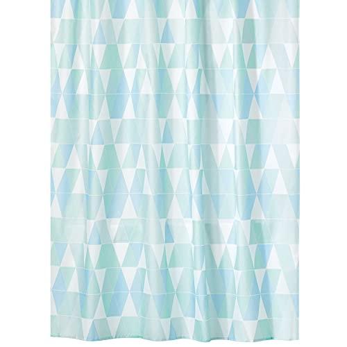 mDesign Duschvorhang aus wasserabweisendem Stoff – beschwerte Duschgardine für Dusche & Badewanne mit 183 cm x 183 cm – langlebiges Badzubehör mit verstärkten Löchern – blau & grün