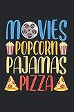 Popcorn Pajamas Pizza: Lustige Popcorn Film und Pizza Filmnacht Notizbuch DIN A5 120 Seiten für Notizen Zeichnungen Formeln | Organizer Schreibheft Planer Tagebuch