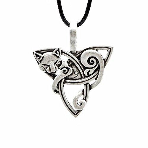 Collar de joyería colgante con diseño de zorro vikingo y celta, regalo original de mujer y hombre