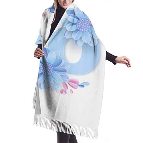 Bufanda de invierno unisex, palabra de mamá, flores de papel decoradas, hermosas,...