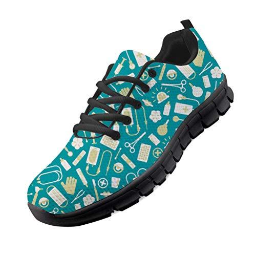 chaqlin Femmes Chaussures de Marche léger Dames infirmière Chaussures de Course Chaussures de Sport Confortables Tennis Chaussures de Sport avec Motif de Dessin animé EU37
