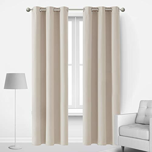 Deconovo Room Darkening Drapes for Living Room Blackout Curtains Insulated Noise Reducing Panels for Home Theater Movie Gaming Bedroom Adults and Kids, 2 Panels, Each 42x72 in, Light Beige