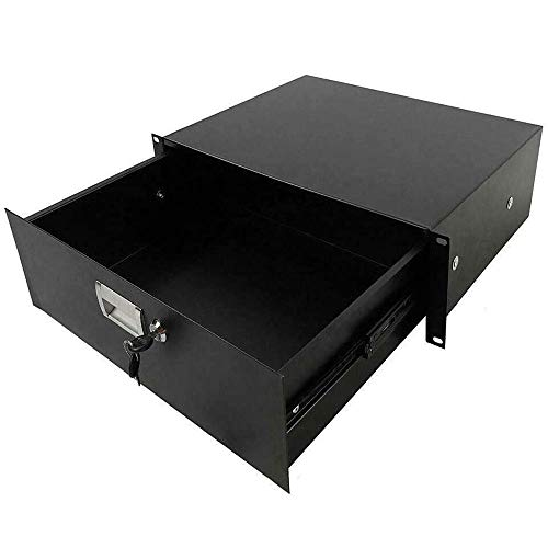 19' Durable & Reliable Steel Material Rack Mount 3U Steel Plate DJ Drawer Equipment Cabinet Locking Lockable Perfect For Storing Anything From Software, Tools, Paper, Supplies, Cable Management
