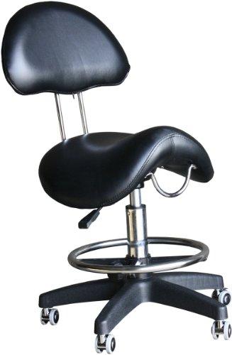 Figaro Tabouret à selle sur roulettes avec vérin pneumatique et pied en plastique Noir noir