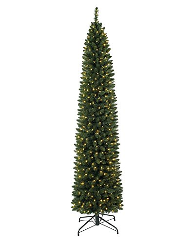 Treetopia Number 2 Pencil 6 Foot Skinny Artificial Prelit Christmas Tree with LED Clear White Lights, On/Off Foot Pedal, and Premium Stand (Green)