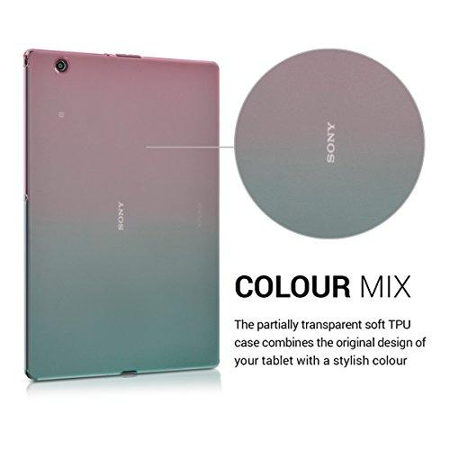 Cover en Rosa Fucsia//Azul//Transparente kwmobile Funda para Sony Xperia Tablet Z4 Carcasa Trasera para Tablet de Silicona TPU