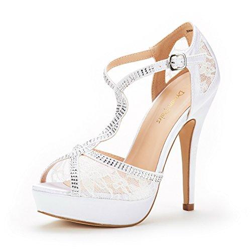 DREAM PAIRS Women's Swan-16 White Fashion Stilettos Peep Toe Pump Heeled Sandals Size 7 B(M) US