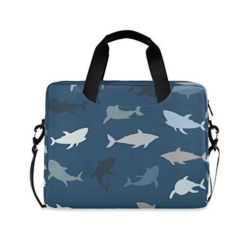 Ombra Laptop Shoulder Bag Sea Animal Shark Portable Laptop Sleeve Case with Strap for 14/15.6/16in Notebook Computer Messenger Bag for Women Men Briefcase