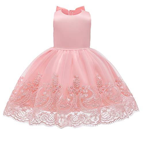 SKays Mädchen Prinzessin Brautjungfer Festzug Tutu Tüll-Kleid Taufkleid Festlich Partykleid Hochzeit Kleid Stickerei Blumenmädchen Hochzeit Festkleid Brautkleid (Pink,120)