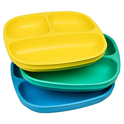 Re-Play Made in USA 3pk Divided Plates with Deep Sides for Easy Baby, Toddler, Child Feeding - Yellow, Aqua, Sky Blue (Surf)
