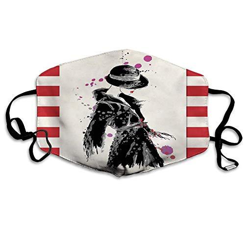 Face Scarf, Moderne Frau In Einem Kühlen Mantel Mit Aquarell-Pinsel-Stil Lässig Urban Design Sicherheit Sanitärschal,18x11cm