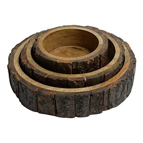ARIJA Serveringsskål i trä – set med 3 – loggdesign – perfekt för grönsaker, snacks – använd för hem och restaurang för frukost, lunch, middag eller fester – träskål – inflyttningspresent idéer