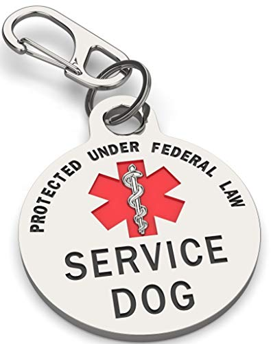 K9King Service Dog Tag Double Sided Federal Protection with Red Medical Alert Symbol Pet ID Tags 1.25 inch. Easily Attach to Collar Harness Vest Dog Service Tag
