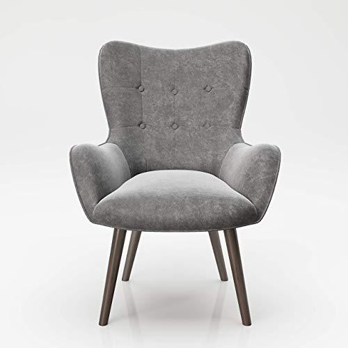 PLAYBOY Sessel mit Massivholzfüssen, Samt in Grau/Anthrazit, Bestickung und Keder, Samtbezug, Retro-Design für Wohnzimmer, Schlafzimmer, Lounge oder Lesebereich, Ohrensessel in verschiedenen Farben