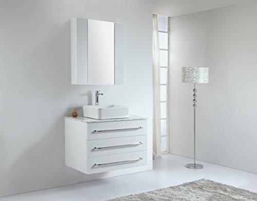 BARINA-BAD© Echtholz Badmöbel Set, Waschtisch, Waschbeckenunterschrank, Soft-Close Funktion, Spiegelschrank, Dacia