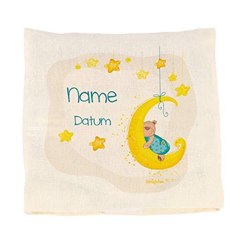 Striefchen® Wärmekissen für Baby zur Geburt mit Namen und Geburtsdatum - Kirschkernkissen Blau