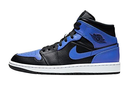 Nike Herren AIR Jordan 1 MID Basketballschuh, Black Hyper Royal White, 45 EU