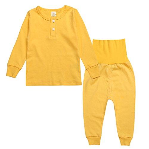 Topfly® - Conjunto de Ropa Interior térmica para bebé, 100% algodón, Pijama de Color Puro