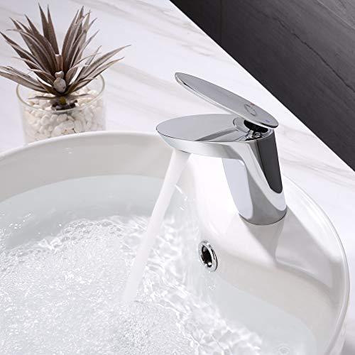 CECIPA Waschtischarmatur mit Mischbatterie, Bad Wasserhahn mit Heißem und Kaltem Wasser, Waschbecken Wasserhahn für Badezimmer