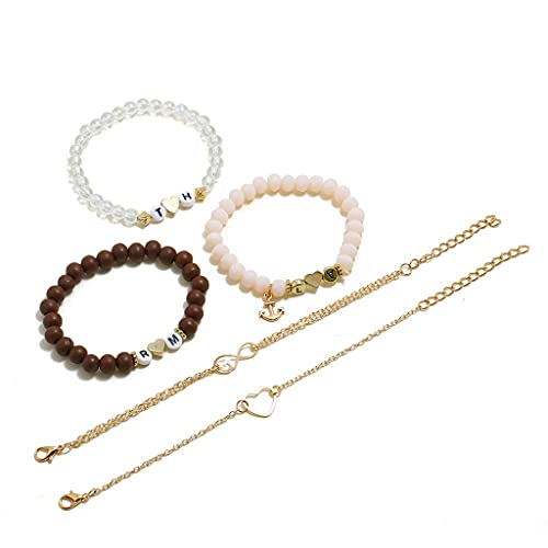 ln 5PCS / Set Hollow Hand Decoration Letter Geometry Ship Anchor Chain Love Beaded Charm Party Jewelry Gift Luxury Fashion Cuff Bracelet Jewelry (Style : Heart-Shaped)
