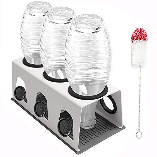 Cutemelo Premium Flaschenhalter aus Edelstahl für SodaStream Glasflaschen mit 3er Abtropfhalter für z.B. Crystal und Pinguin und andere Glasflaschen mit Flaschenbürste und Abtropfmatte (Weiß)