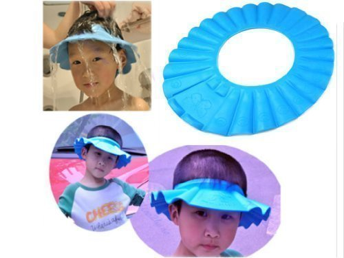 Soft Baby Kids Children Shampoo Bath Shower Cap Hat Wash Hair Shield (Blue)