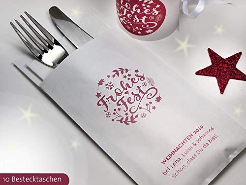 Personalisierbare Bestecktasche Frohes Fest für Weihnachten Heilig Abend