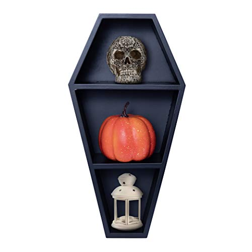 Manny's Mysterious Oddities Coffin Shelf - Spooky Gothic Decor for The Home - Black Floating Wooden Shelf for Wall or Table Top - 14 Inches Tall by 7 Inches Wide