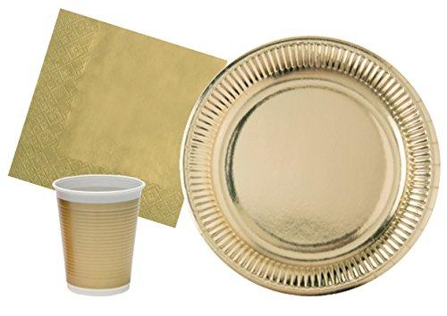Ciao- Kit Party Tavola Oro Persone (94 Pezzi: 30 Piatti Ø23cm, 24 Bicchieri plastica 200ml, 40 tovaglioli Carta 33x33cm), Single, Colore, Y4656